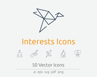 Interests Icon Set in Vector and PNG for web and print
