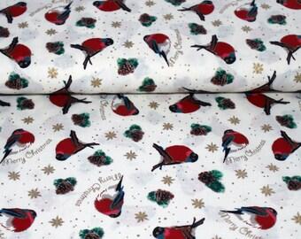 Christmas Robin festive cotton fabric