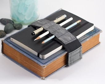 Adjustable Velcro Bandolier // grey waves // (a better pencil case, journal pen holder, book strap, pen loop, pencil roll, pen bandolier)