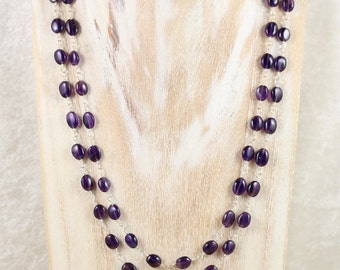 Amethyst & Sterling Silver Long Rosary Style Necklace. Purple Gemstone Necklace. Layering Necklace. Wire Wrapped Bead Necklace. Jewellery