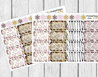 16 Animal Print Planner Stickers Scrapbook Half Box PS69a Fits Erin Condren Planners