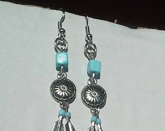 Southwestern silver and turquoise earrings with double feathers