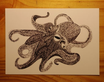 Card mailing Octopus ink of China