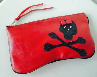 Leather Makeup Bag with Skull and Crossbones-READY TO SHIP