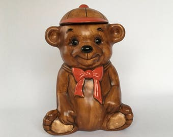Vintage Bear Cookie Jar, Dog Treat Canister, Bear Decor, Canister, Teddy Bear with Red Cap and Scarf, Treat Jar, Adorable!