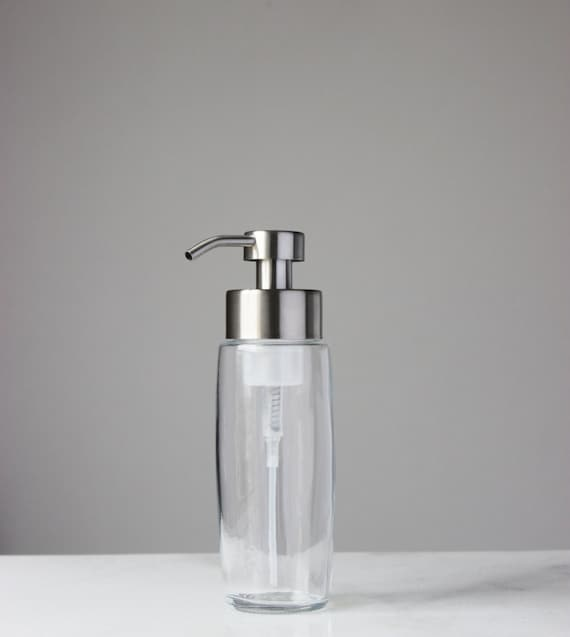 Large Glass Foaming Soap Dispenser With Stainless Steel Metal