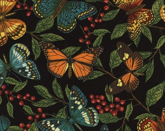Timeless Treasures Colorful Butterflies, Leaf Branches, Black, Garden Journal - C4568