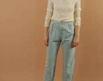 Vintage cool blue high waisted pants / Minimalist pleated trousers / Cropped proper preppy pants / 90s powder blue trousers