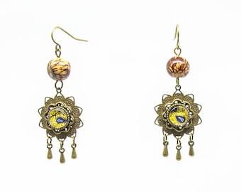 Himawari wax and seed earrings
