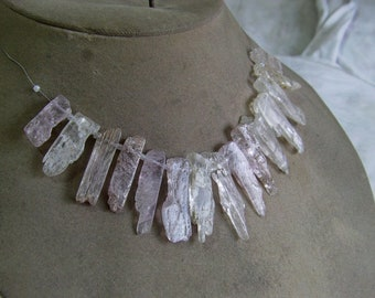 1 Strand Kunzite Natural rough layout  beads 43, grams, 9X20, 10X36, MM