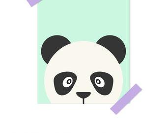Kids Decor, Kids Wall Art, Panda Print, Panda Nursery Decor, Animal Art, Animal Nursery, Gender Neutral Nursery, Monochrome Nursery Decor