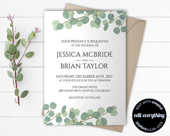 Wedding Invitation Free Download Software: Eucalyptus Greenery Wedding Invitation Template Eucalyptus