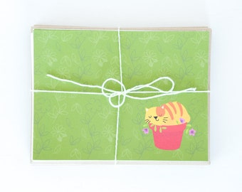 Kitty Cat Flat Note Cards, Yellow Cat Planter, Grey Cat & Purple Yarn, Illustrated Flat Cards, Stationery Notecards