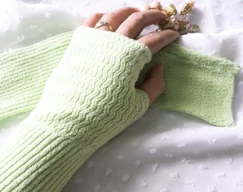 """11"""" Apple Green Fingerless Knitted Arm Warmers, Arm Sleeves, Arm Gloves, Arm Covers for Girls & Women"""