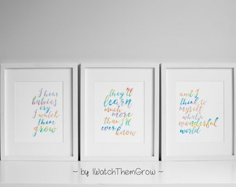 "Printable Rainbow Watercolor ""What A Wonderful World"" Nursery Wall Art, Set of 3 Wall Art, Rainbow Nursery, 8x10 & 11x14 INSTANT DOWNLOAD"