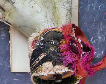 The Rose and the Raven, Textile Assemblage Cuff