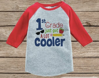 Back to School Shirt - 1st Grade Outfit - Boys Back To School Outfit Red Raglan Tee - First Day of School Tshirt - Back to School Shirt