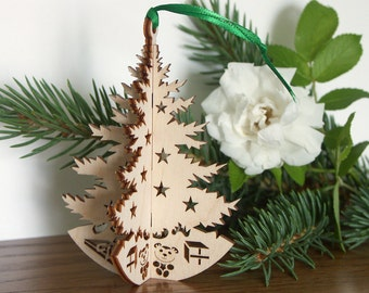 3D Christmas tree ornament for hanging on tree or self-standing Wood Christmas tree