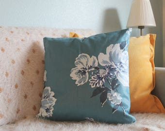 Cotton Blue and White Floral Print Throw Pillow
