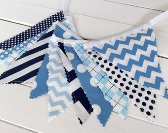 Nursery Bunting Banner Fabric Bunting Garland Baby Boy Nursery Decor Party Decorations Birthday Banner Sky Blue Navy Blue White Chevron