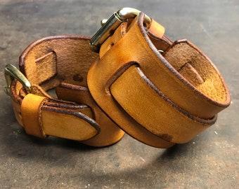 Brown leather wrist cuff bracelet