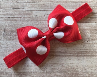 Red Polka Dot Tux Bow Band Stretchy Elastic Headband