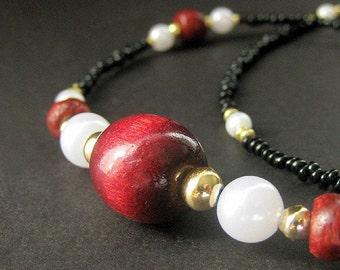 Badge Lanyard. Cherry Red Eyeglass Chain. Black Beaded Glasses Necklace. Dark Red Badge Necklace. Eyeglass Holder. Handmade ID Lanyard.
