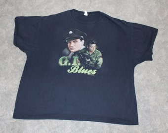 Vintage 60s 70s Clothing Elvis Presley Gi Blues Movie Jerzees Brand Mens Size 3XL XXXL or Oversized Womens Retro Black Short Sleeve T Shirt
