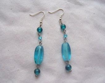 Blue and Aqua Beaded Earrings