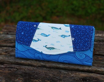 Blue Narwhals and Waves Necessary Clutch Wallet (NCW) with multiple interior pocket and card slots