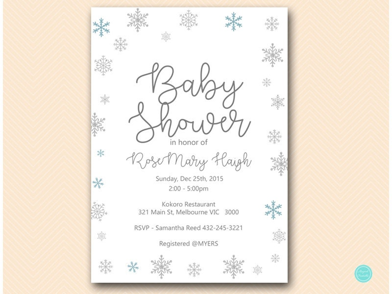 Winter Wonderland Baby Shower Invitation Winter Baby Shower