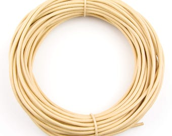Beige Round Leather Cord 1.5mm 100 meters (109 yards)