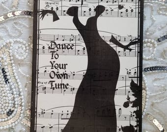 Silhouette Lady Dance to Your Own Tune Vintage Sheet Music Decoupage Decorative Hanging Wall Plaque {Reuse, Repurpose, Upcycle}