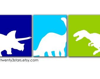 Affiches de dinosaure, dinosaure Art, Triceratops Tyrannosaure Rex et Apatosaurus Art, dinosaure pépinière Art, toiles Dino, dinosaure toile Art