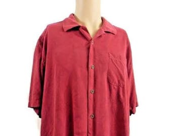 Tommy Bahama Red, Sutle Floral Print Camp Shirt, 100 % Silk Size XL