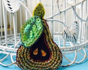 Jewelry embroidery  sead beaded Brooch Sweet  fairy tale Yellow Pear