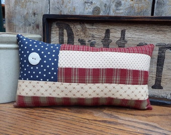 Primitive Flag Pillow, Patchwork Flag Pillow, Patriotic, Cupboard Tuck, Shelf Tuck, Americana, Primitive American Flag, Red White and Blue