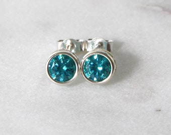 Swarovski Mint Green Zirconia Sterling Silver Stud Earrings  • Gifts for women • Bridesmaid Earrings • Prom Earrings