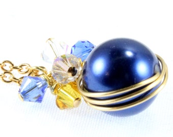 School Colors Wrapped Pearl Pendant, School Jewelry, Swarovski Crystals, Blue and Gold, Stephenville Yellow Jackets, Your School Colors