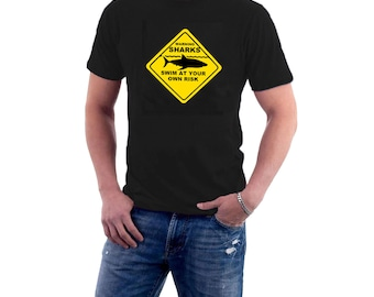 Shark Attack Warning T-shirt. Jaws Summer Beach Vacation Cotton Tee