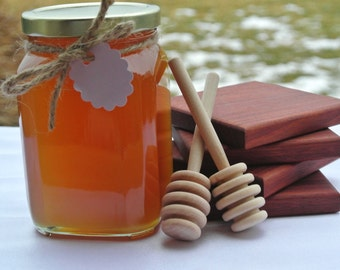 Grandparents Gift Set, Tea Lover Gift Set, Honey, Wood Coasters & Dippers, Edible Gift Ideas