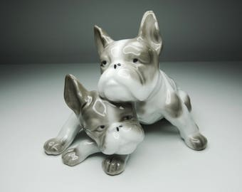 Pretty French Bulldogs - Light Grey and White - Great Vintage Vibes! A Perfect Gift for Frenchie Lovers :)