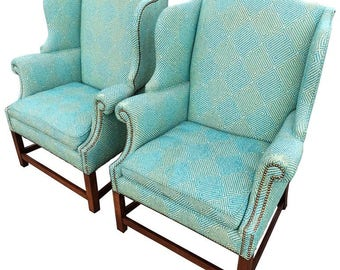 Good Pair Of Henredon Wing Back Chairs
