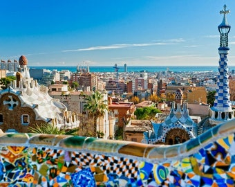 Laminated placemat Park Güell Barcelona Spain