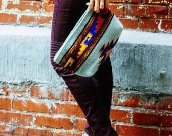 Clutch/Boho clutch//Wool clutch/Hand dyed/Tribal design/Native design/Southwest clutch/Light blue clutch/ Women/Gift for her