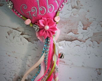 Fabulous Fairy Wands. Flower Girl,  Personalized with childs name, felt hearts, streamers, bells, embellishments. Little girls love these.
