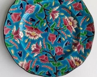 Decore a la main,Emaux de Longwy floral decorative plate.France.
