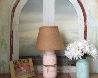 Mason Jar Lamp, Chiffon Pink, Beach Cottage Table Lamp, Burlap, Rustic,