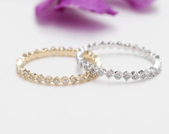 Set of 2 14K Gold Wedding Band/2MM Eternity Diamond Ring/Stackable Diamond Ring/Micro Pave Ring/Matching Diamond Band/Diamond Wedding Ring