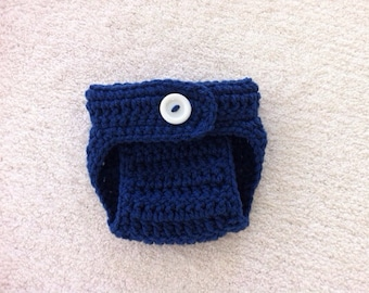 Crochet Baby Navy Blue Diaper Cover Photoprop/ Made to Order